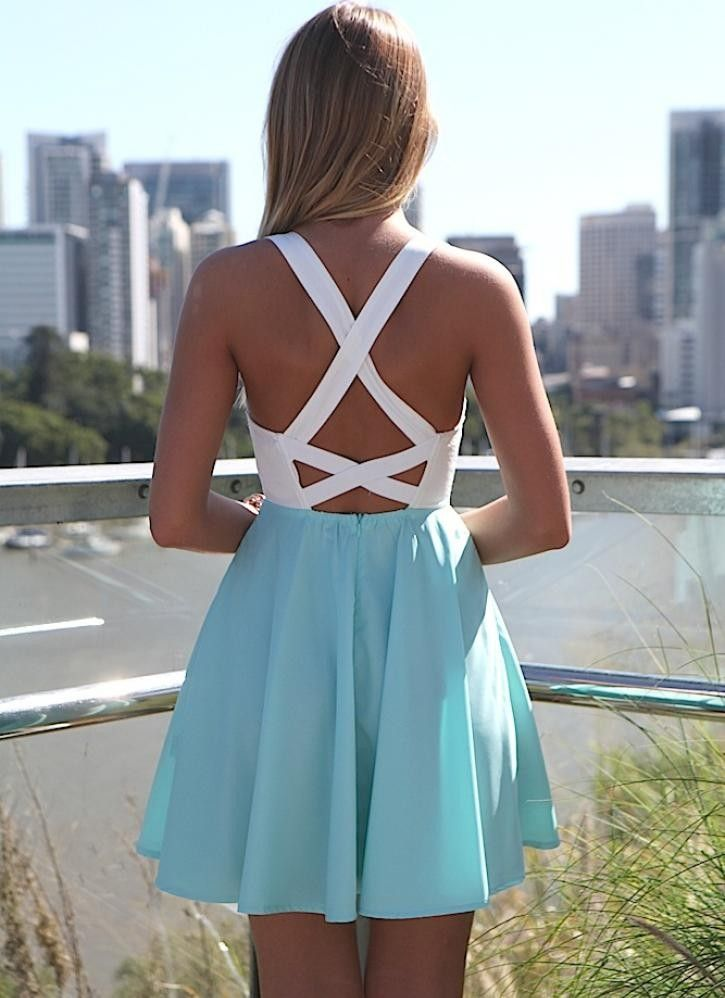 White and Teal Skater Dress with Bustier Top
