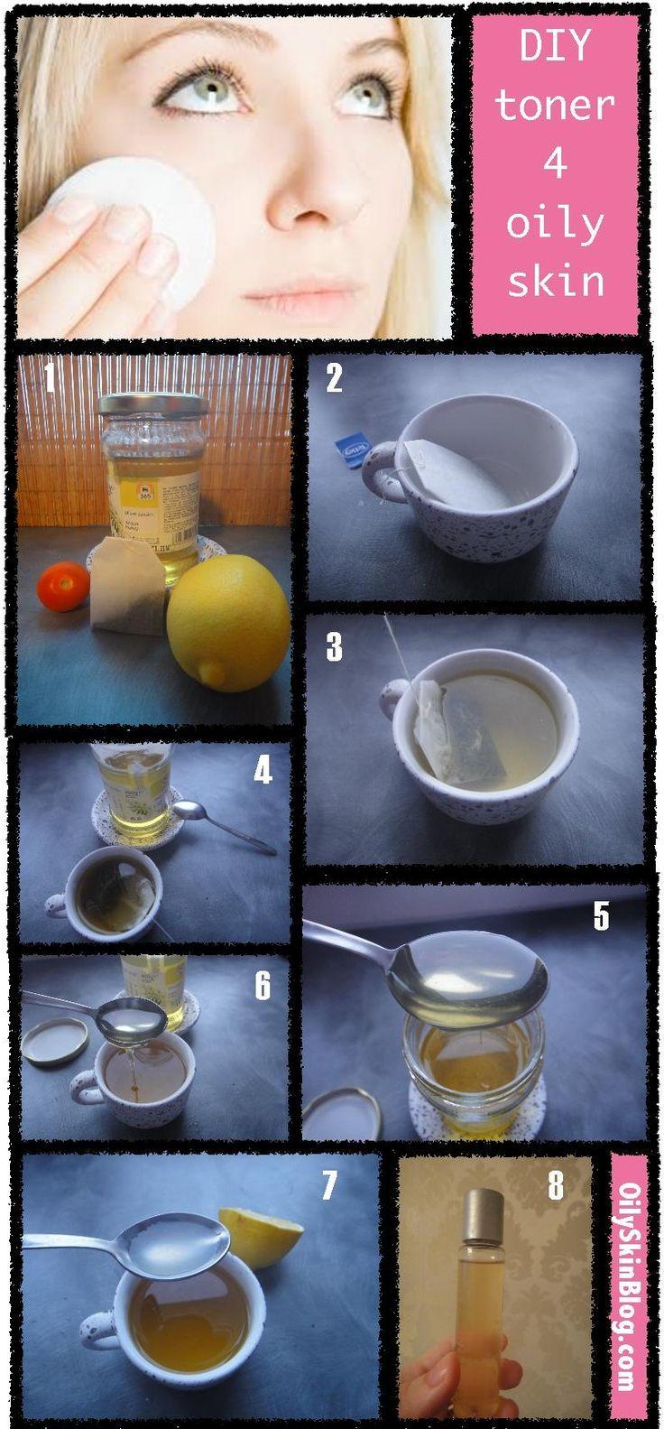 DIY  Mattifyng Toner For Oily Skin: honey green tea/chamomile tea lemon juice/tomato juice and water