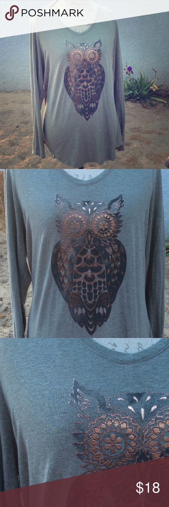 Owl shirt Green long sleeve casual shirt. Posting as XL. Has a spot at the bottom but not noticeable. Just My Size Tops Tees - Long Sleeve