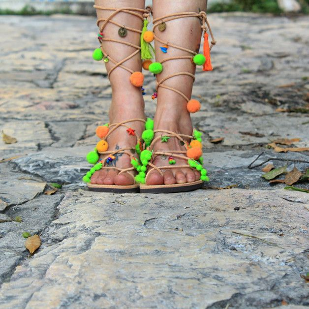 Sandals – Gladiator leather sandals,Boho Sandals, Pom Pom – a unique product by Oniropolis on DaWanda