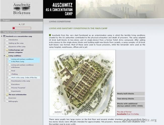 "The ""Auschwitz — Concentration and Extermination Camp"" online lesson, which focuses on the most important topics in the history of the Nazi German camp, is available in English on the Museum's website. The Auschwitz Memorial is a pioneer of e-learning in institutions of this kind in Poland.  More: http://en.auschwitz.org/m/index.php?option=com_content&task=view&id=1097&Itemid=7  On-line lesson: http://en.auschwitz.org/lekcja/1/"