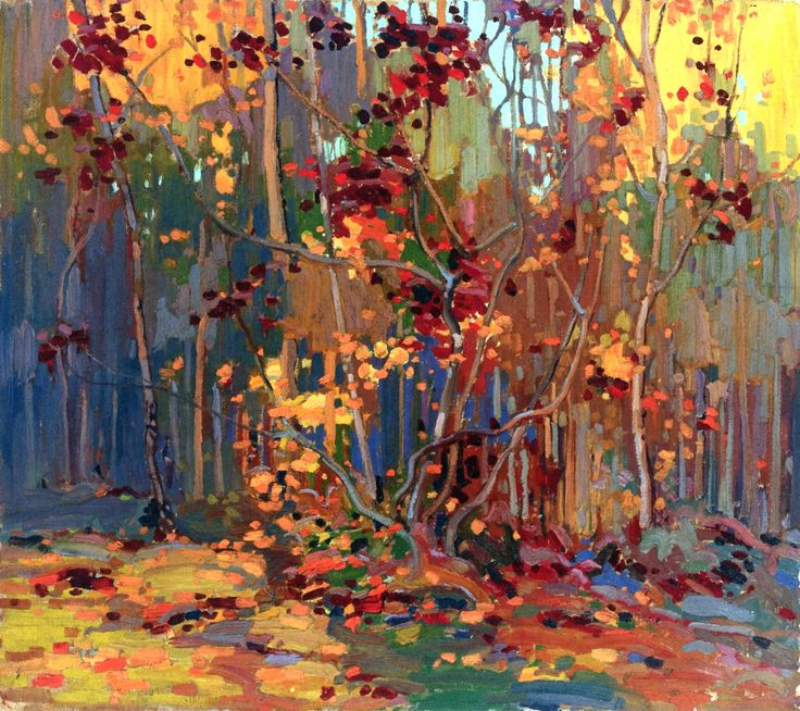 Maple Saplings, OctoberTom Thomson 1916-1917 Private collection Painting - oil on canvas Height: 91.4 cm (35.98 in.), Width: 102 cm (40.16 in.)