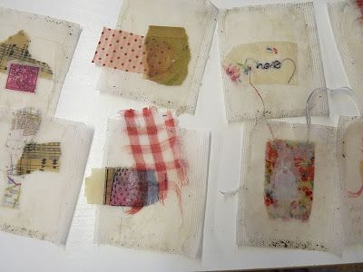 Fabric trapped within teabags