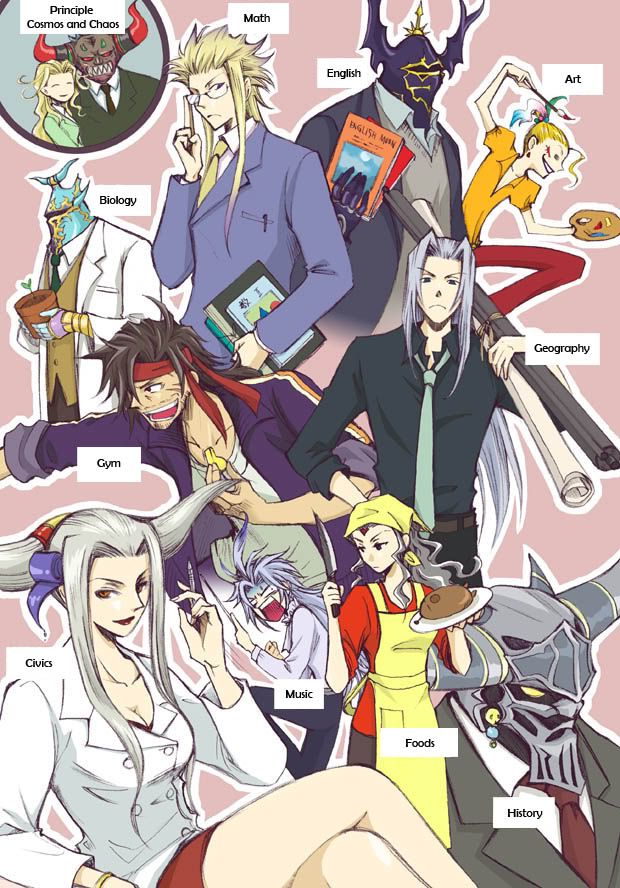 Kefka, Chaos, Cosmos, the Emperor, Exdeath, Garland, Golbez, Jecht, Kuja, Cloud of Darkness, Sephiroth & Ultimecia