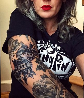Beautiful Black and Grey tattoos ... and a nice tribute to mom AND dad in ink