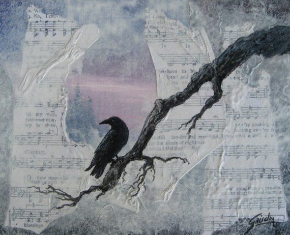Crow Raven Shades of night Mixed Media Original by gristello