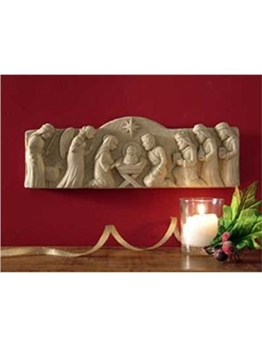 away in a manger 1176:carruth studio:cast stone nativity plaque