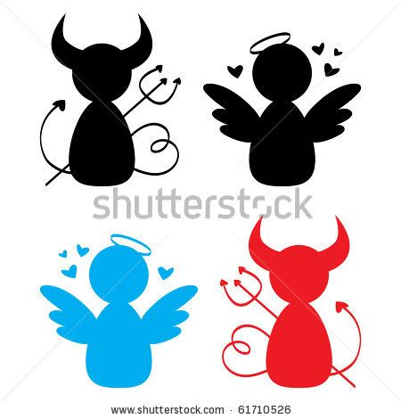 stock vector : Angel and Devil icons.