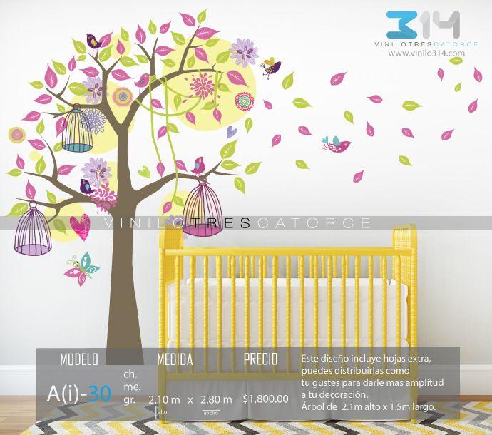 Vinilos decorativos árboles infantiles. Sticker decorativo árbol, jaulas…