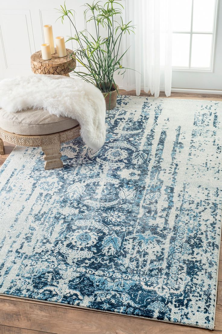 Traditional Muted Flourish Blue Area Rugs 7 Feet 6 Inches By 9 X