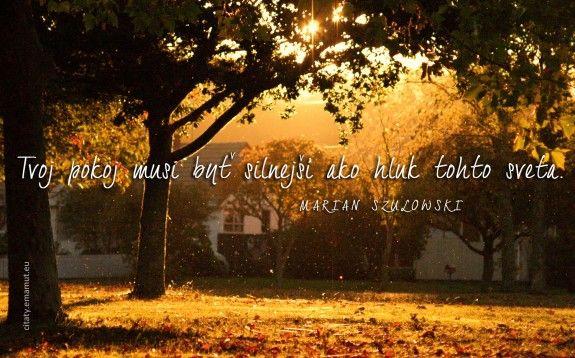 Tvoj pokoj musí byť silnejší ako hluk tohto sveta. - Szulowski, Marián - citát s obrázkom | citaty.emamut.eu