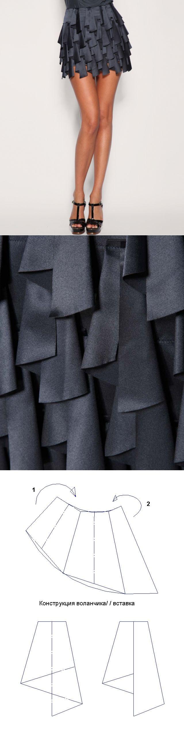Простая юбка с воланчиками (схема волана) / Юбки и их переделки...<3 Deniz <3
