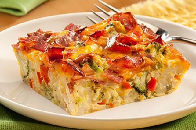 For a great brunch-time dish try this Cheesy Bacon Hash Brown Bake made with yummy ingredients like bacon, VELVEETA, and ORE-IDA Diced Hash Brown Potatoes.
