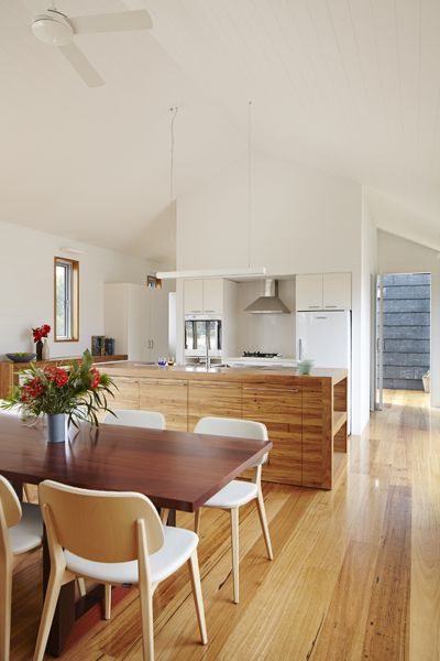 """Wallington Residence by Gunn Dyring Architecture. Benchtops: recycled messmate, Cupboards & drawers: Amerind Laminate in """"Blanched Almond"""". Flooring: recycled messmate timber. Walls painted Dulux """"Lexicon Quarter"""". (Houses 93 pp.107)"""