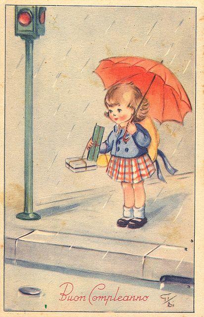 ┌iiiii┐                                                             Vintage birthday postcard
