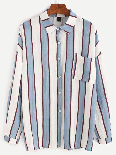 Blusa de rayas verticales con bolsillos