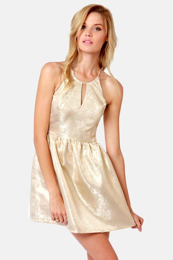Hip, Hip Brocade! Gold Brocade Dress at LuLus.com!