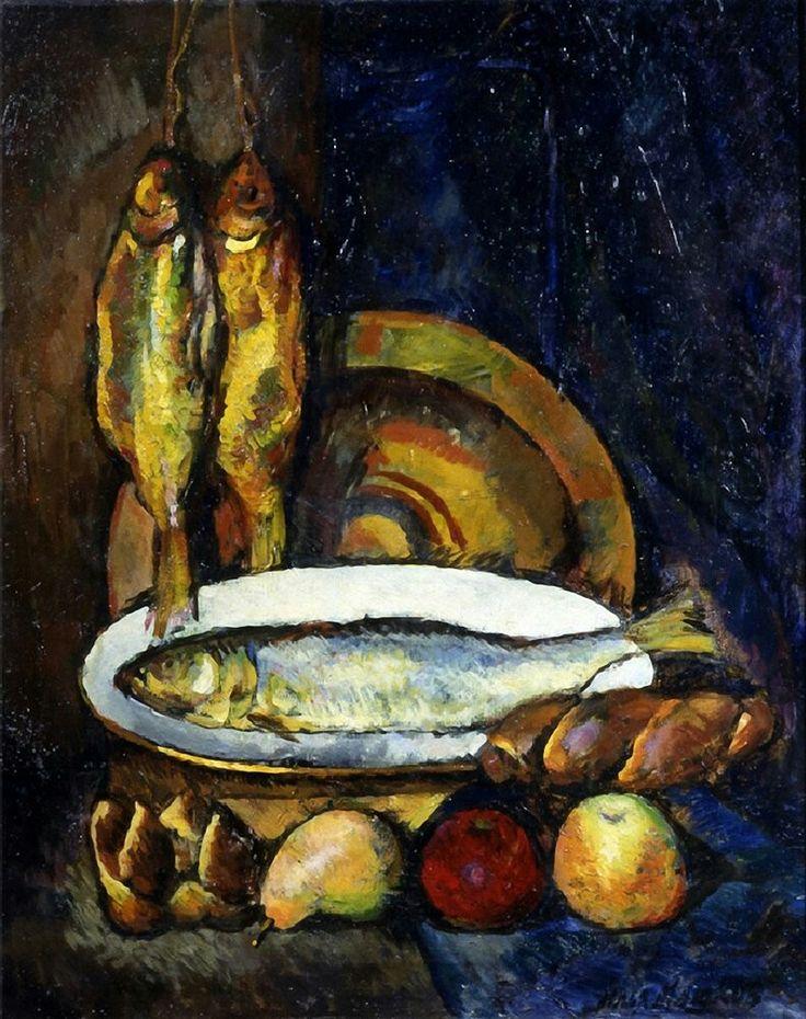 Still Life with Fish by Ilya Mashkov Medium: oil on canvas
