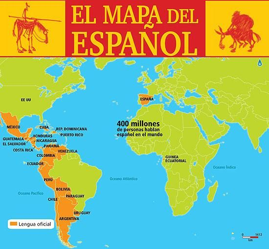 El mapa del español en el mundo. The map of the Spanish language in the World, 400 million people speak Spanish