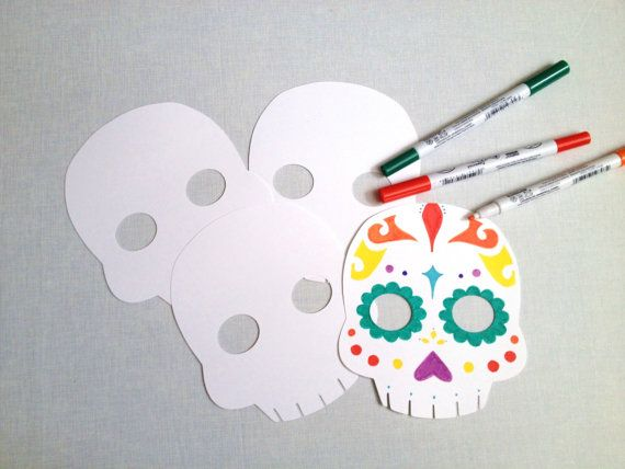 5 You Color Sugar Skulls  Day of the Dead Party  by CleverMarten, $4.00