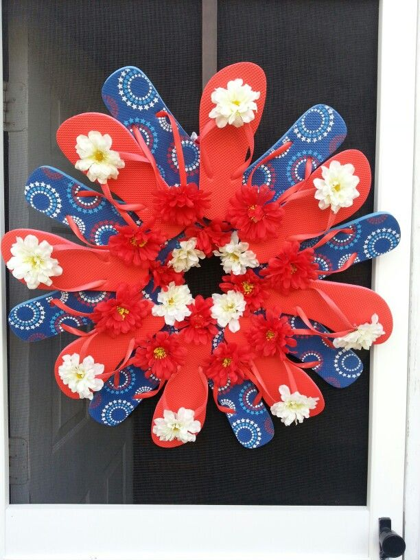 4th Of July Flip Flop Wreath