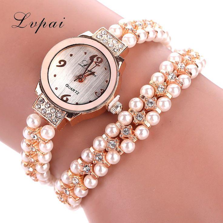 Goedkope Lvpai 2016 Nieuwe Merk Gouden Horloge Legering Parel Luxe Edelsteen Armband Horloges Vrouwen Jurk Fashion Horloge Klassieke Quartz Horloge, koop Kwaliteit vrouwen horloges rechtstreeks van Leveranciers van China: