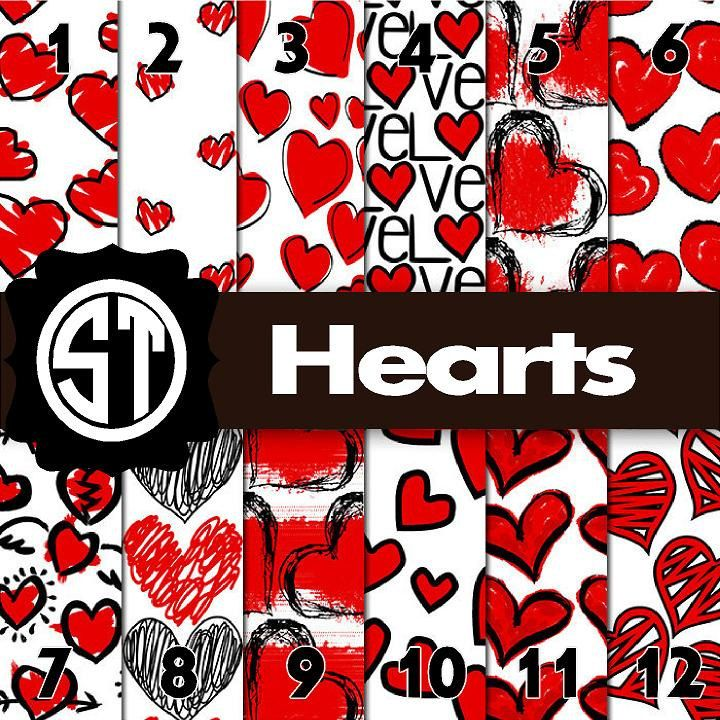 Hearts Patterns Printed Vinyl Or Heat Transfer Vinyl Iron On In 6x6 8 5x11 12x12 12x24 And 12x36 By S Liquid Fabric Softener Heart Patterns Print Patterns
