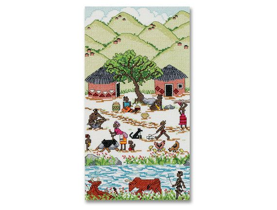 African Village - A counted cross stitch design on Etsy, $8.00 AUD