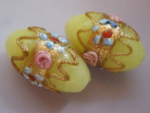 Vintage Glass Beads Handmade Venetian Yellow Oval Wedding Cake Bead