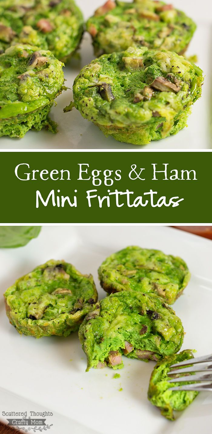 St. Patricks Day is just around the corner- these Green Eggs and Ham Mini Frittatas are perfect to get everyone in the holiday spirit. (Kids love them and the green color comes from hidden veggies- not artificial food coloring!)