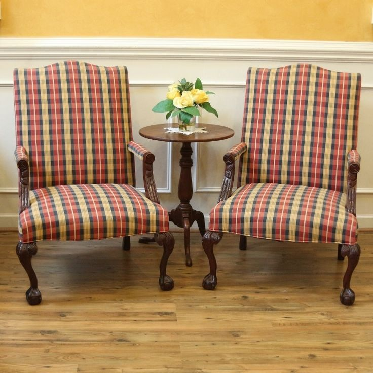Charming Vintage Pair Library Arm Chairs, Carved Ball And Claw Feet, Upholstered  Plaid.