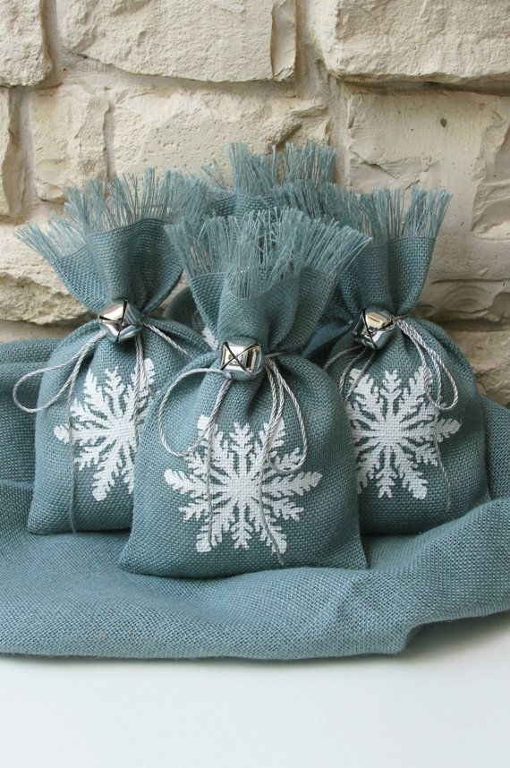 Custom listing for Nichollette. Burlap Gift Bags, Snowflake, Shabby Chic Christmas Wrapping, Silver Jingle Bell Tie On, 25 Bags.