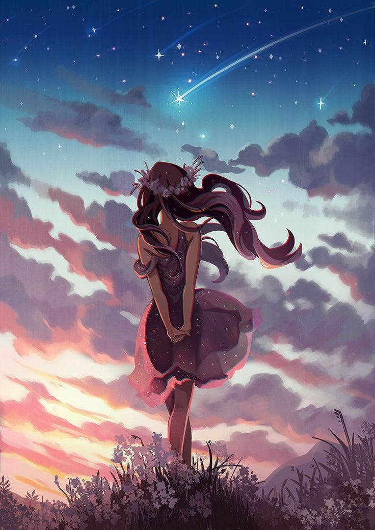 Girl overlooking sunset and shooting stars.