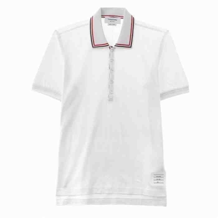 [G228]トムブラウン/THOM BROWNE/MJP017AK9863/メンズ/ポロシャツ/半袖/Tシャツ/ホワイト