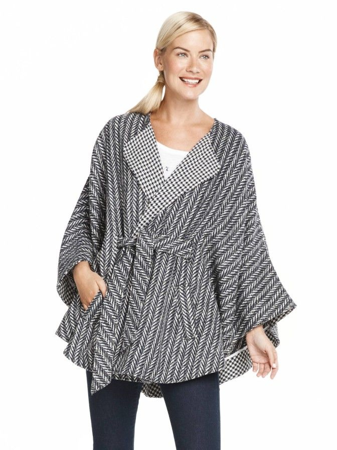 There's no easier way to look instantly chic than by throwing on a cape. Done in a menswear-inspired pattern, our Jukebox Check Cape is ingeniously designed with a clever belt detail that ties in front but is concealed in the back for a streamlined effect.