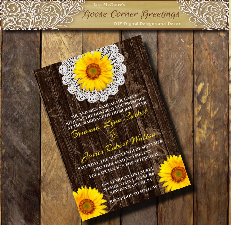 sunflower wedding invitations printable%0A Printable Wedding Invitation BARNWOOD SUNFLOWER Doily Flower Sunflower  invitations Country wedding Rustic Bridal Shower Birthday invitations