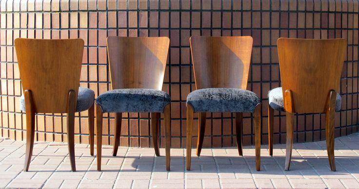 komplet czterech krzeseł h214 proj. J.Halabala po kompletnej renowacji #adalbertovintage #redesigned #halabala