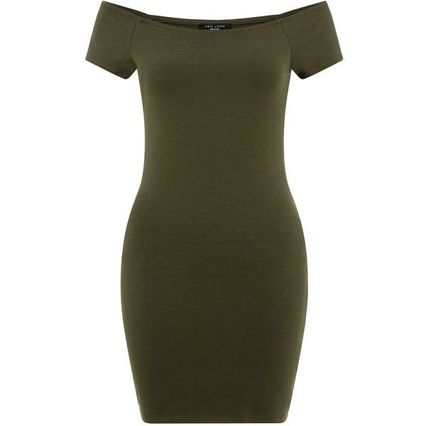 Petite Khaki Bardot Neck Bodycon Dress ($20) ❤ liked on Polyvore featuring dresses, khaki, petite, summer mini dresses, summer dresses, bodycon dress, brown bodycon dress and short sleeve cocktail dress