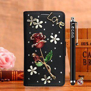 Locaa(TM) Pour Wiko Pulp Fab 4G 3D Bling Rose Case Coque Étui Fait Love Cuir Qualité Housse Chocs Couverture Protection Cover Shell Etui…