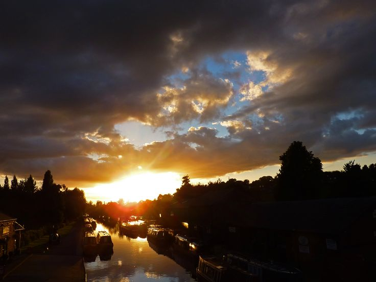 Dramatic evening sunset on the canal. September 2013