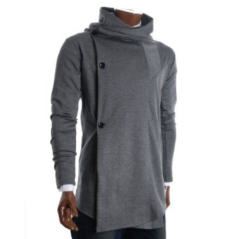 http://amzn.to/10l827t: FLATSEVEN Mens Designer Turtleneck Hoodie Unbalanced Long Cardigan Jacket (CL01) Grey: Clothing
