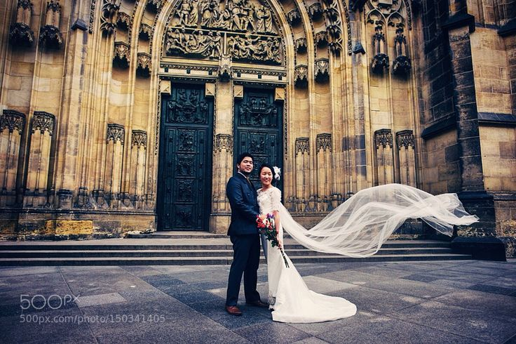third courtyard of Prague Castle & my clients - newlyweds from Singapore by Helisz. Please Like http://fb.me/go4photos and Follow @go4fotos Thank You. :-)