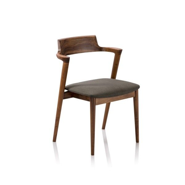 Danish modern dining chair crafted from rich grain Walnut timber with linen fabric seat.