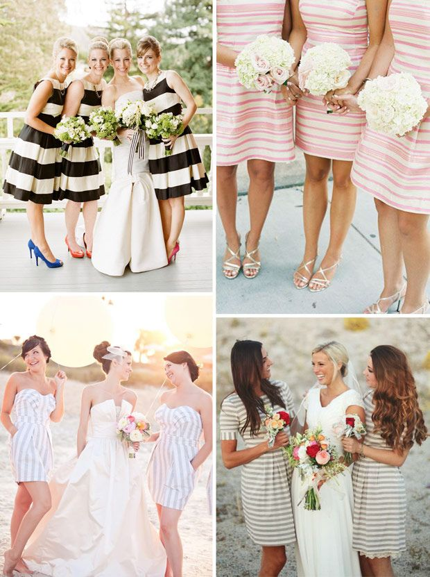Stripe Bridesmaids Dresses  | onefabday.com