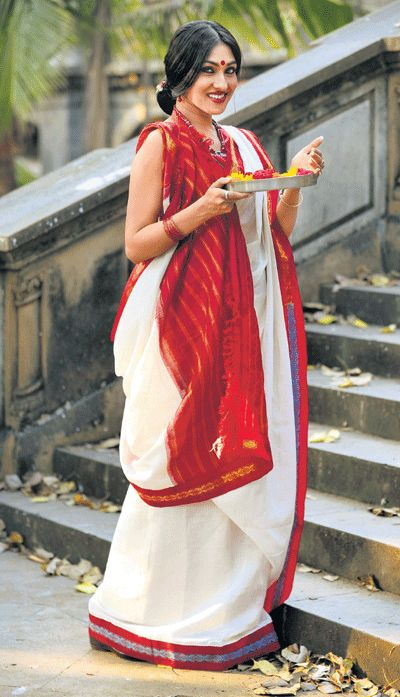 Red and white Bengali Saree!