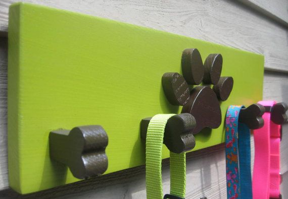 In turquise or purple.  Dog Leash Holder Paw Bone Pet  Wooden Pet Collar by woodzcreations, $34.95