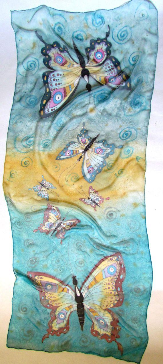 Scarf.hand seta dipinta sciarpe di seta di OlgaGorbunovaArt