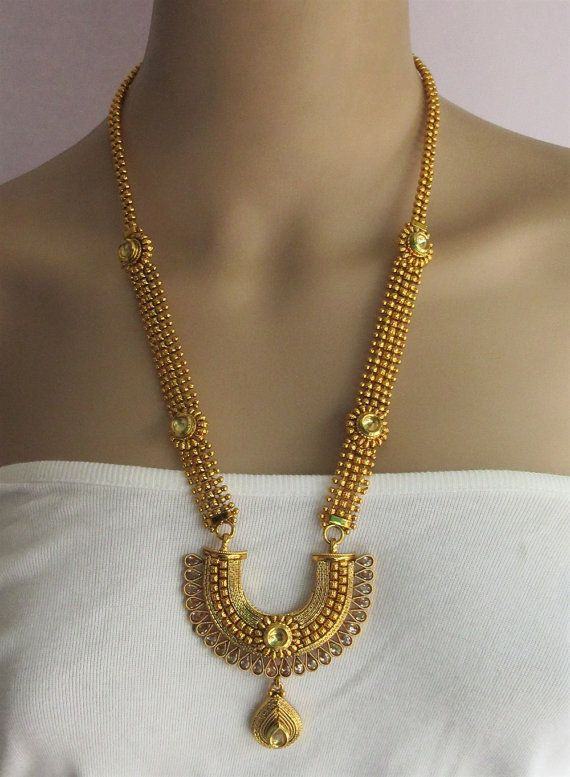 Long Rani Haar Gold South Indian Crystal Jewelry by Beauteshoppe