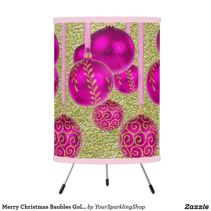 Merry Christmas Baubles Gold Pink Glitter Lamp