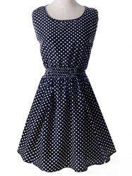 Casual Style Scoop Neck Sleeveless Polka Dot Elastic Waist Women's Dress